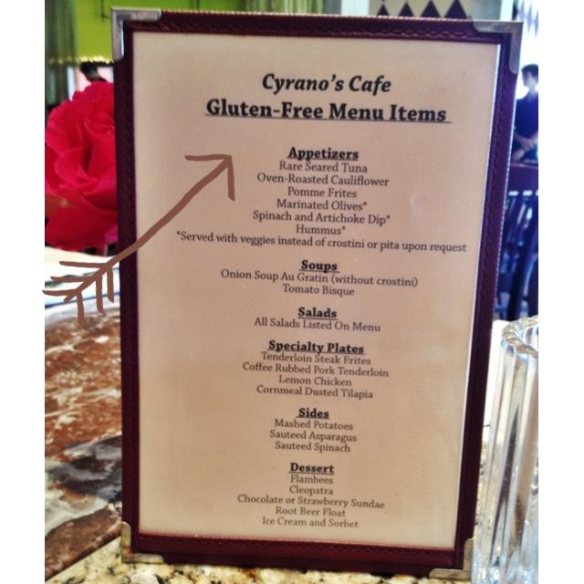 Cyrano's Cafe Gluten-free Menu St. Louis