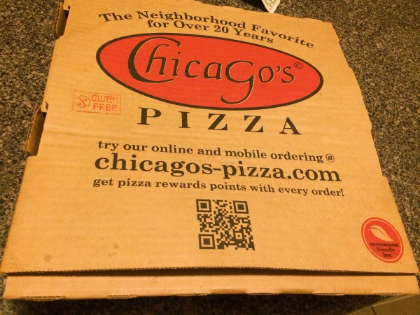 Chicago's Pizza Gluten-free Pizza Box is labeled GF | Gluten-free Pearls